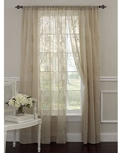 Laura Ashley Set of 2 Frosting Window Curtains, Taupe
