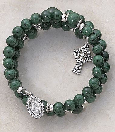 Malachite Wrap Around Five Decade Irish Celtic Catholic 6MM Rosary Bracelet Fine Religious Jewelry