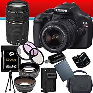 Canon EOS Rebel T3 12.2 MP CMOS Digital SLR with 18-55mm IS II Lens (Black) + Canon EF 75-300mm f/4-5.6 III Telephoto Zoom Lens + 58mm 2x Telephoto lens + 58mm Wide Angle Lens (4 Lens Kit!!!) W/32GB SDHC Memory + Extra LPE10 Battery/Charger + 3 Piece Filter Kit + Full Size Tripod + Accessory Kit