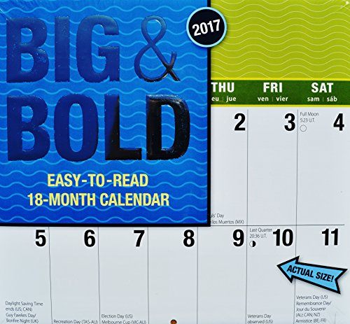 18-Month 2017 Big & Bold Easy-to-Read Large Print Wall Calendar