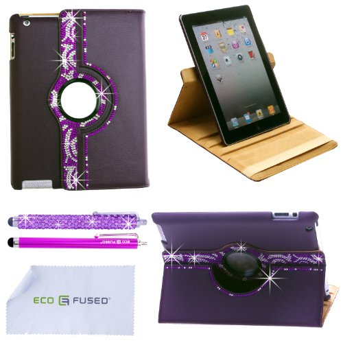 *BLING* 360 Rotating iPad 3 Purple Leather Case with (Purple wavy) Sparkling Rhinstone Details / One (Purple)*BLING* Stylus / One (Purple) Stylus - ECO-FUSED® Microfiber Cleaning Cloth 5.5x3.0