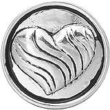 Andido Chunk 18 mm Herz mit Streifen für Chunks Armband Druckknopf Click Button NC0128AF