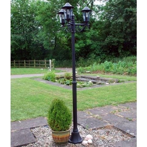 Energy Saving Traditional 2m Black 3 Way Outdoor Garden Lamp Post Light