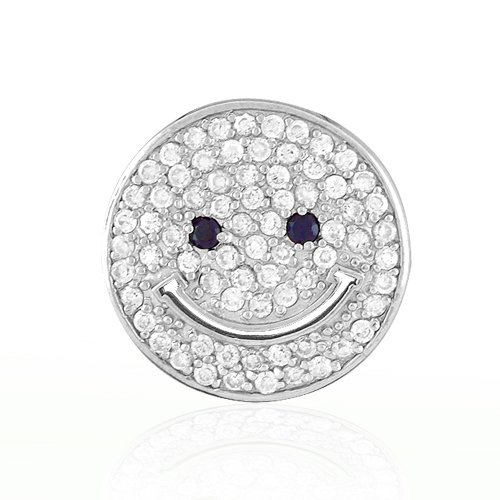 Bling Jewelry Pave CZ Smiley Face Pendant Sterling Silver