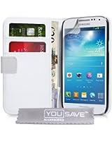 Coque Samsung Galaxy S4 Mini Etui Blanc PU Cuir Portefeuille Housse