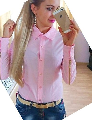 ZXR-Femme-massif-roseblancvert-pour-femme-col-chemise--manches-longues-Plus-Taille