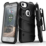 iPhone 7 Case, Zizo Bolt Cover with [.33mm 9H Tempered Glass Screen Protector] Heavy Duty Armor [Military Grade] Kickstand Holster Belt Clip
