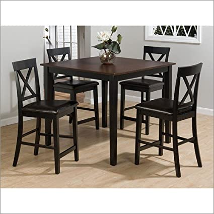 Table and Stool Set Jofran Burly Brown Table and Stools Set with Black Finish