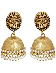 Adwitiya 24k Gold Plated Rich Pearl Studded Peacock Designed Pure Antique Jhumki For Womens