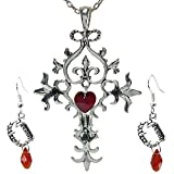 DaisyJewel Gothic Red Heart Vintage Silvertone Cross Necklace & Matching Vampire Fang Blood Drop Earrings