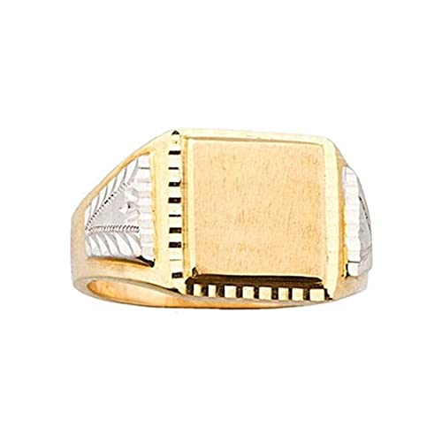 18k gold seal bicolor square gentleman [5656]