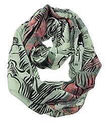 WishCart Women's Infinity Circle Scarf Lightweight Leopard and Zebra Printing -Tiger,Beige+Pink