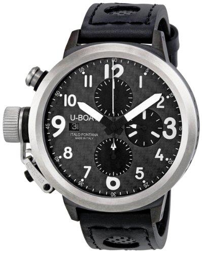U-Boat Flightdeck Automatic Black Leather Strap Mens Watch 6451