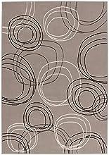 Lalee 347252831 Tapis de créateur Motif cercles Argenté/gris/blanc, argent, 120 x 170 cm