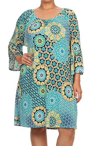 ColorMC Women's Plus Size Mandala print Bell Sleeve Convertible Neck Knit Dress