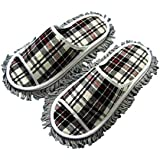 [Black Grid] Hot Sale Item-Microfiber Magic Cleaning Slippers For Men, US 8