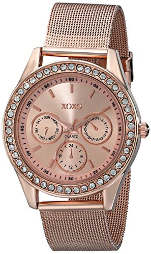 XOXO Women's XO5599  Rose Gold-Tone Watch with Rhinestones