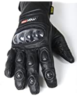 MAX MPH EDGE Leather Motorcycle Motorbike Gloves - carbon fibre protection
