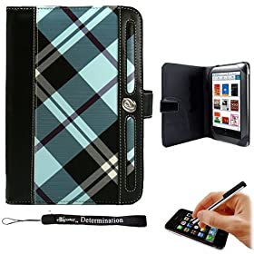 Professional Portfolio Cover Carrying Case , Plaid Pattern with Synthetic Leather Design Feature with Memory Card , Notepad and Pen Slots For Barnes & Noble NOOK COLOR eBook Reader Tablet + Includ