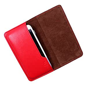 Dooda Genuine Leather Flip Pouch Case For Maxx MSD7 3G AX45 (RED)