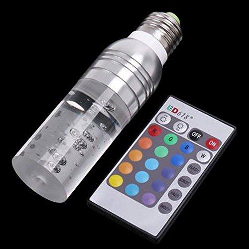 Farbwechsel-Birne WAYCOM LED-Lampe mit IR-Fernbedienung - E27 Standard-Schraubsockel 16 Farben ändern Dimmbare 3W RGB-LED-Glühlampe (Silber)
