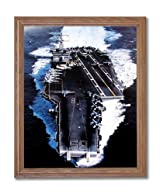 USS Enterprise Aircraft Carrier Naval Ship Military Wall Picture Oak Framed Art Print
