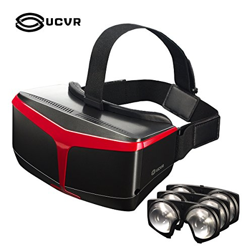 UCVR Top Fresnel Optical Lenses Same Materials as HTC, 3D VR Headset Glasses Virtual Reality Headset Goggles for iPhone 6/6 plus,Samsung Galaxy S5/S6/S6 Edge/Note Serials,LG, Huawei, HTC, Moto and Windows Phone