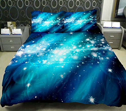 Anlye Galaxy Quilt Cover Galaxy Duvet Cover Galaxy Sheets Space Sheets Outer Space Bedding Set With 2 Matching Pillow Covers (King) front-786501