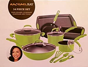 Rachael Ray Green Lime Cookware Set Pots Pans 14 Pieces