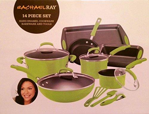 Rachael Ray Green Lime Green Cookware Set Pots Pans 14 Pieces