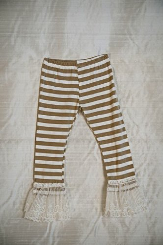 Image of Persnickety Clothing Persnickety Tan Stripe Double Ruffle Leggings