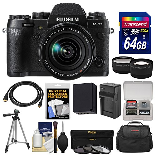 Fujifilm X-T1 Weather Resistant Digital Camera & 18-55mm XF Lens with 64GB Card + Case + Battery & Charger + Tripod + Tele/Wide Lens Kit