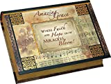 Where Faith and Hope Grow Miracles Bloom! Foiled Accent Book Style Jewelry Music Box - Plays Song Amazing Grace