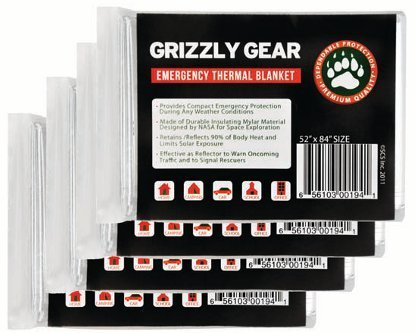 """Emergency Thermal Blankets (4 Pack) - Grizzly Gear - Folds To 52"""" X 84"""" Provides Compact Emergency Protection In All Weather Conditions. Made Of Durable Insulating Mylar Material Designed By Nasa For Space Exploration Retains/Reflects Back 90% Of Body Hea"""