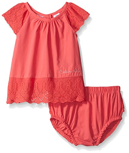 Calvin Klein Baby-Girls Peached Poplin with Eyelet Trim Top and Panty, Red Icing, 18 Months