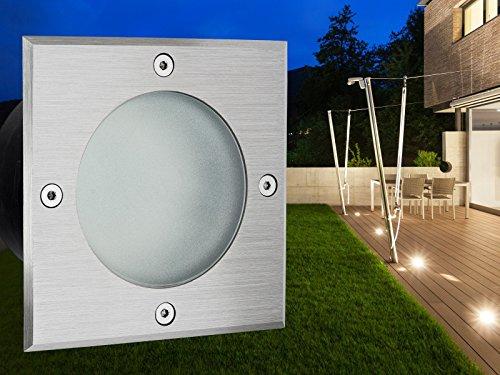 flacher-LED-Boden-Einbau-Strahler-VIROK-quadratisch-in-Edelstahl-gebrstet-mit-Echt-Glas-matt-inkl-GX53-35W-LED-Leuchtmittel-warm-wei-230V-TOP-VORTEILE-hervorragende-LICHTQUALITT-hoch-BELASTBAR-geringe