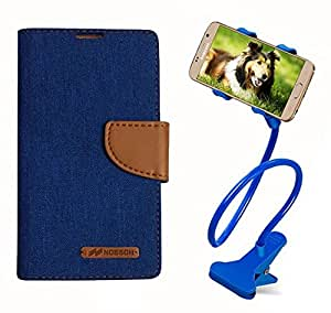 Aart Fancy Wallet Dairy Jeans Flip Case Cover for MicromaxA104 (Blue) + 360 Rotating Bed Moblie Phone Holder Universal Car Holder Stand Lazy Bed Desktop by Aart store.