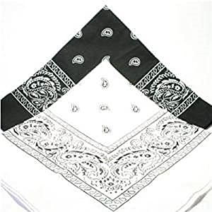 Pack of 2 Bandana 1 x Black and 1 x White , Hair Head Neck Scarf Scarves