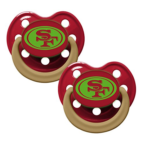 San Francisco 49ers Glow in Dark 2-Pack Baby Pacifier Set - NFL Infant Pacifiers