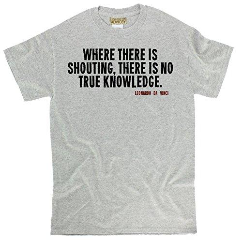 Leonardo Da Vinci T-Shirts - Where There Is - Knowledge Tshirts Unisex-X-Large-Gray