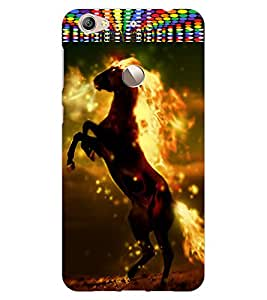 ColourCraft Flaming Horse Design Back Case Cover for LeEco Le 1S