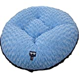 BESSIE AND BARNIE 36-Inch Bagel Bed For Pets, Medium, Black Puma/Blue Sky