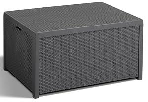 Allibert 220002 Monaco Table Lounge Coffre Coussins En Plastique Effet Rotin Gris