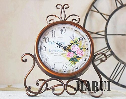 European Style Antique Retro Vintage-inspired Wrought Iron Craft Table Clock Home Decor (Rose) ¡­ 3