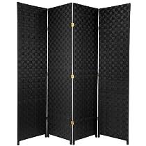 Big Sale Oriental Furniture 6-Feet Tall Woven Fiber Outdoor All Weather Room Divider 4 Panel Black