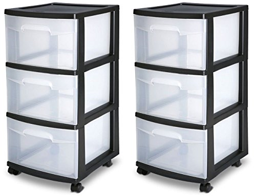 3 DRAWERPLASTIC STORAGE Cabinet Container Box set of 2 Black (Stackable Filing Cabinets compare prices)