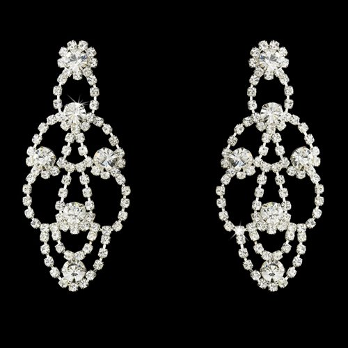 Bridal Wedding Jewelry Austrian Crystal Chandelier Drop Earrings Silver Clear