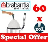 60 x 20L Litre Brabantia Smartfix Slimline Bin Liners Waste Bags Sacks Type F 4.4 UK Gal