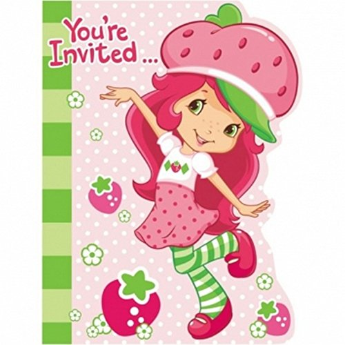 Amscan Unisex Adult Strawberry Shortcake Invitations Black Medium