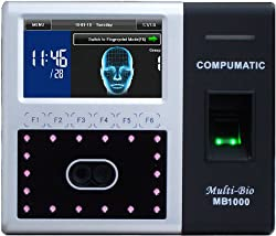 COMPUMATIC MB1000 TOUCHLESS BIOMETRIC FACE RECOGNITION AND FINGERPRINT TIME CLOCK PACKAGE INCLUDES COMPUTIME EMPLOYEE PAYROLL SOFTWARE